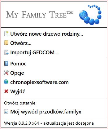 My Family Tree Ekran startowy