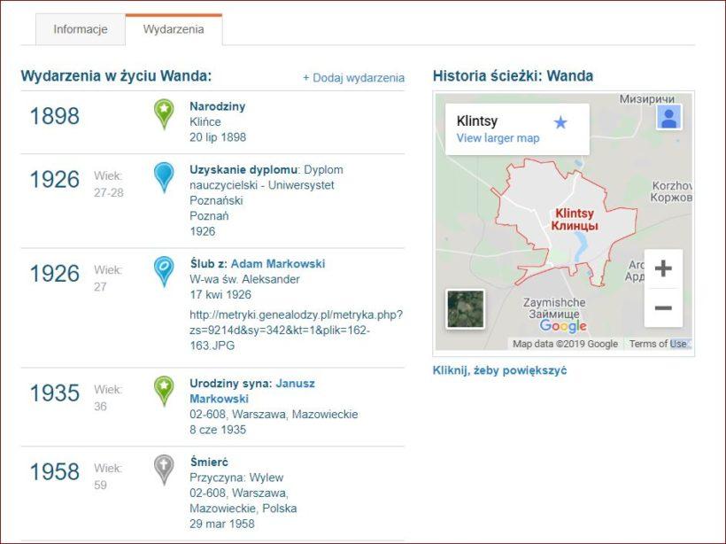 MyHeritage linia czasowa (wydarzenia) oraz użycie mapy