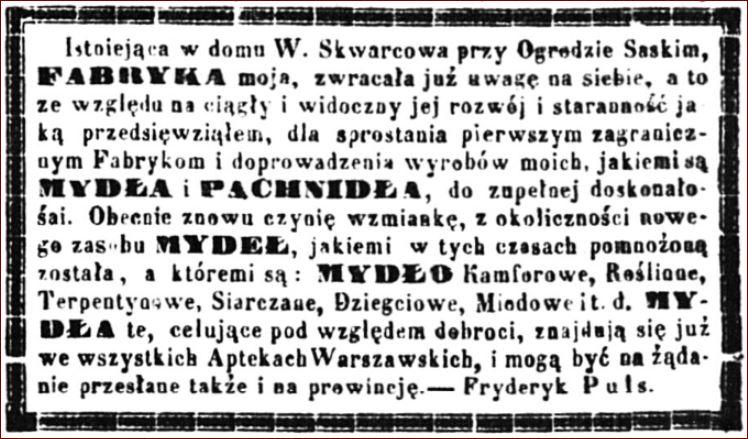 Reklama Fryderyk Puls Kurier Warszawski 1859