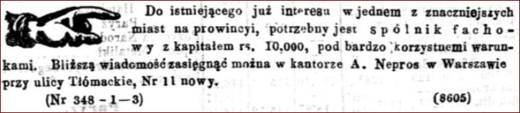Reklama Kantoru Augusta Nepros, męża Klementyny Adolph