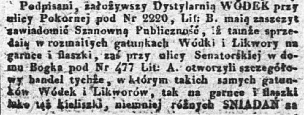 ogłoszenie w Kurjerze Warszawskim 30 maja 1833