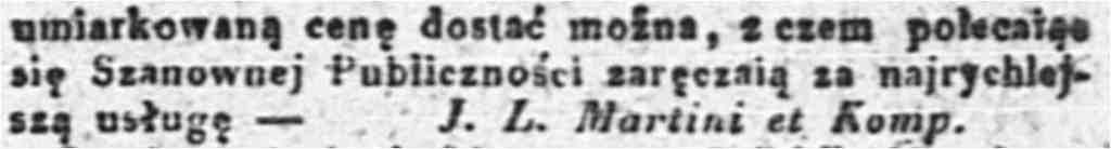 Ogłoszenie Kurjer Warszawski 30 maja 1833, Źródło: Polona