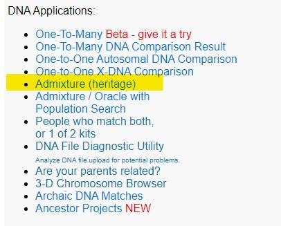 Menu różnych aplikacji do badań DNA na portalu GEDmatch