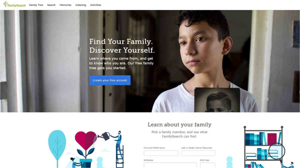 FamilySearch strona główna