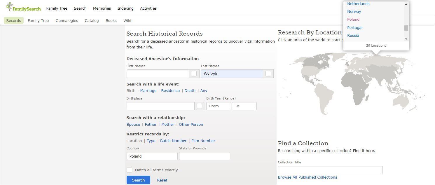 FamilySearch indeksy