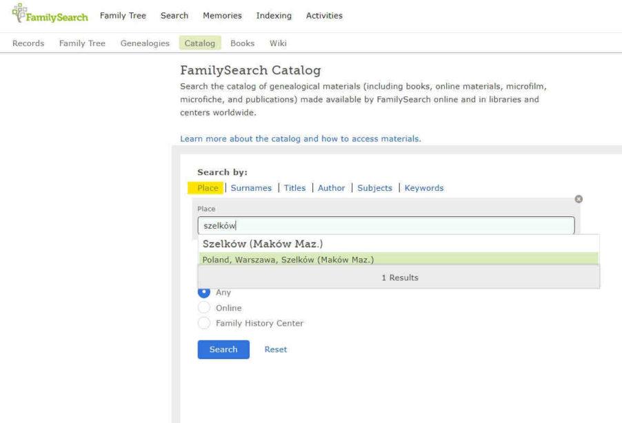 Familysearch baza aktów metrykalnych katalog