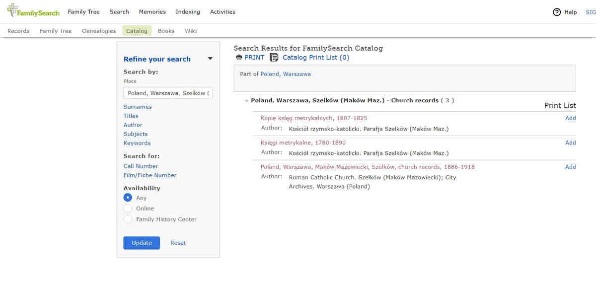 Familysearch baza metryk uszczegółowienie wyboru