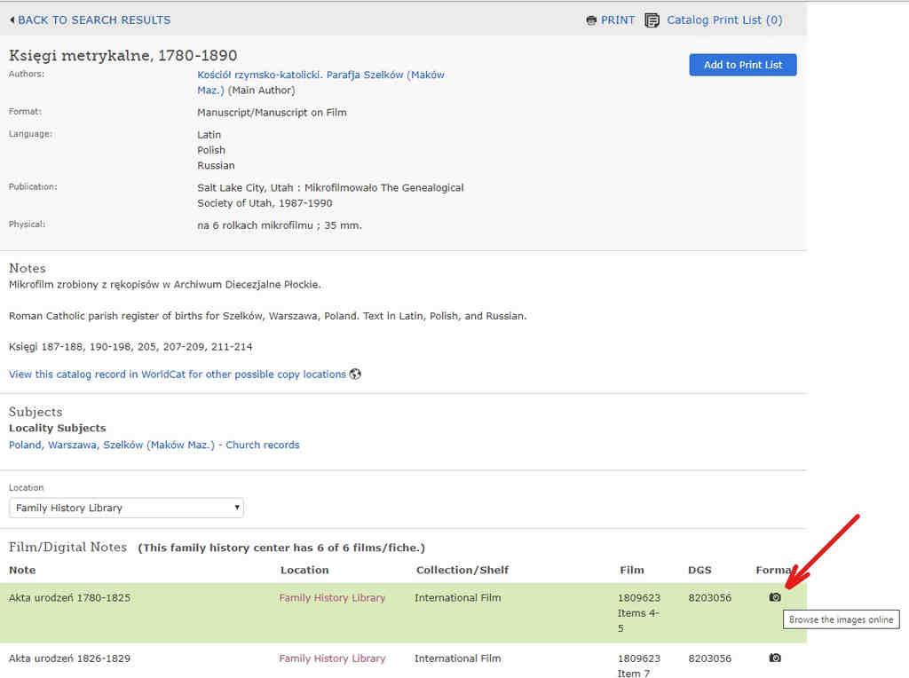Familysearch baza metryk wybór filmu