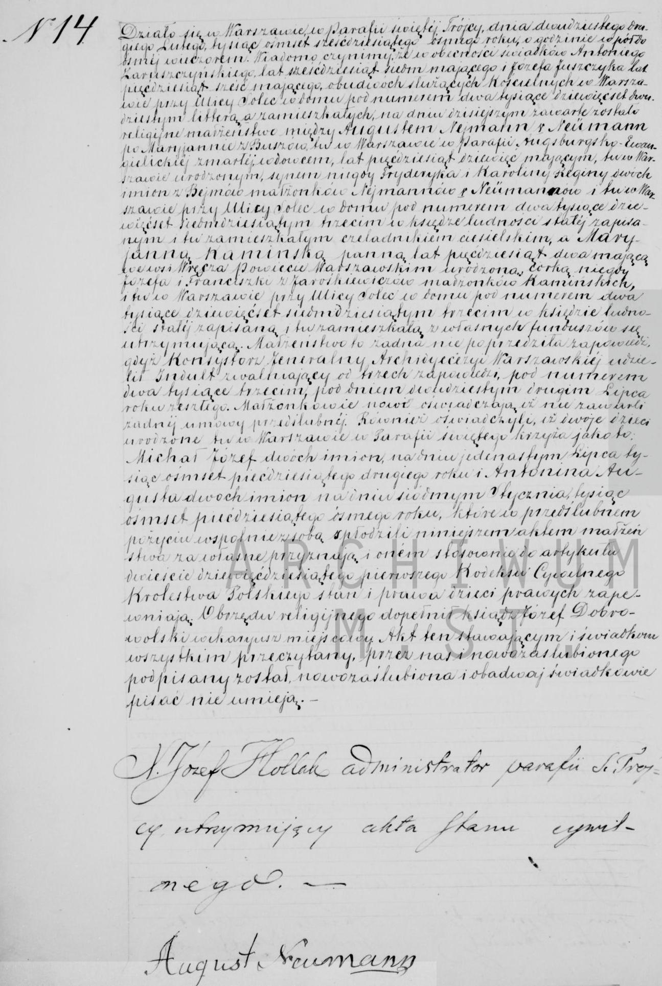 Indeksy aktów metrykalnych ślub Neumann Kamińska