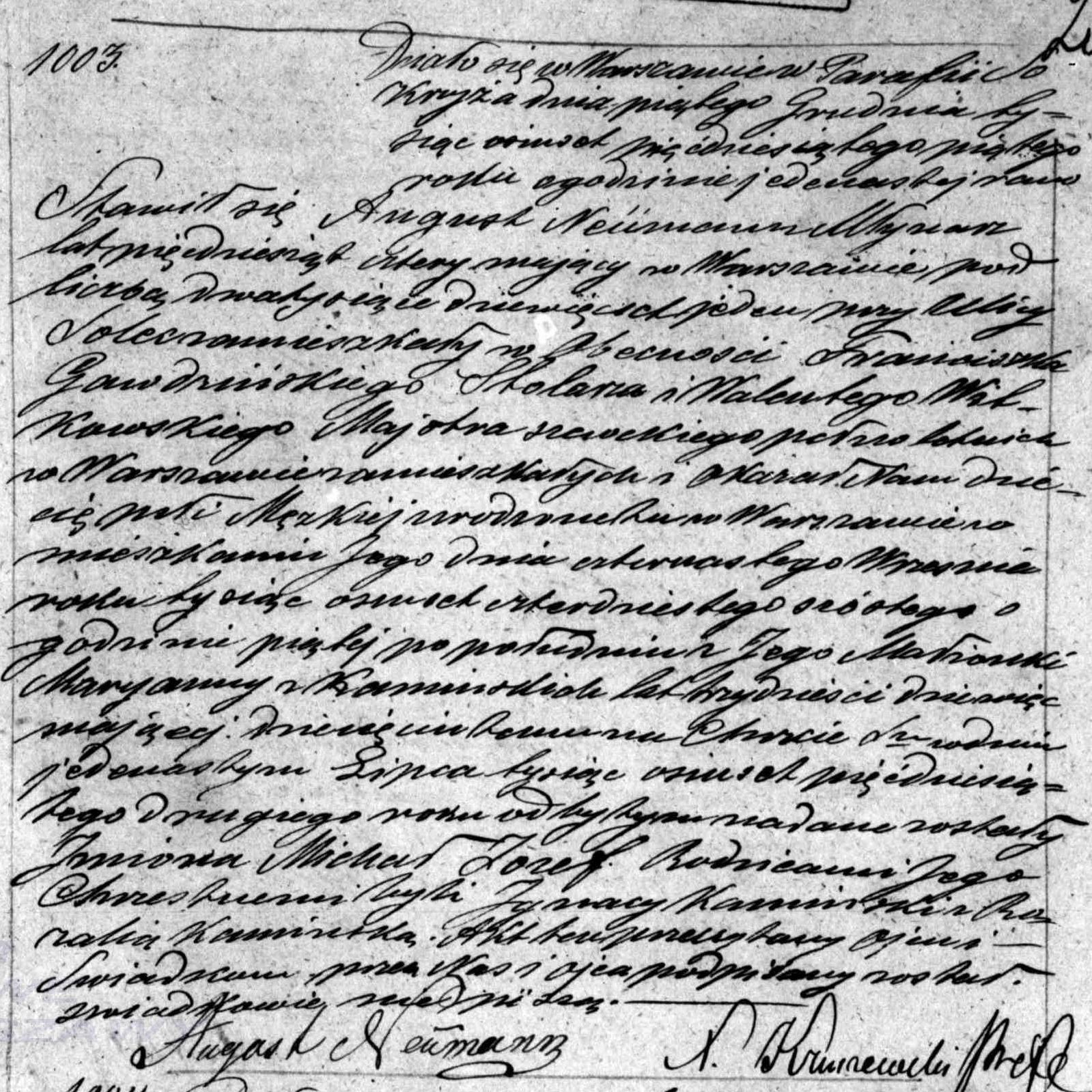 Indeksy aktów metrykalnych Michał Józef Neumann