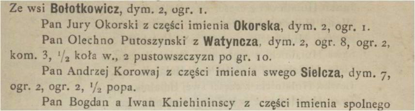 Olechno Putoszyński Regestr wybrania poboru Jego Królewskiej Mości przez mię Iwana Chrennickiego, podsędka ziemskiego Łuckiego, z województwa Wołyńskiego, w roku 1583.