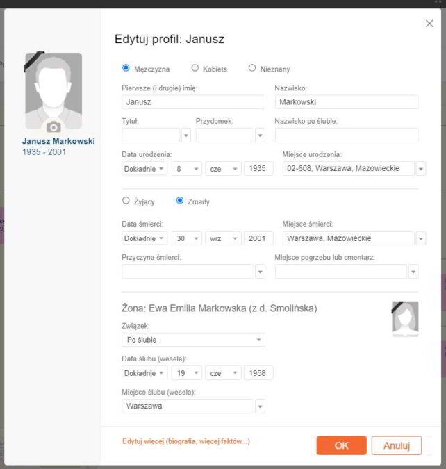 MyHeritage ekran quick edit