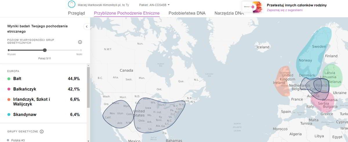 Przybliżone pochodzenie etniczne próbka Ancestry